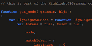 Transform a grammar in JSON format to a syntax-highlighter mode for Highlight.js with HighlightJS Grammar