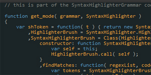 Transform a grammar in JSON format to a syntax-highlighter brush for SyntaxHighlighter with SyntaxHighlighter Grammar